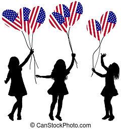 Patriótico, meninas, silhuetas, balões, nós