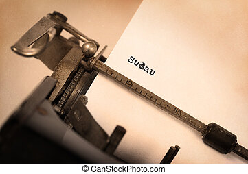 Old typewriter - Sudan - Inscription made by vintage...