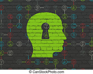 Data concept: Head With Keyhole on wall background - Data...
