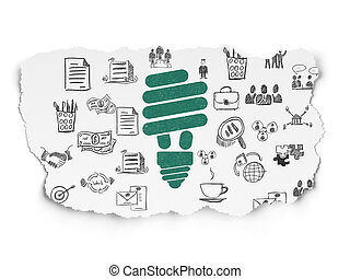 Business concept: Energy Saving Lamp on Torn Paper background