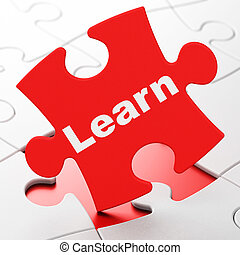 Education concept: Learn on puzzle background