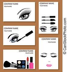 make up business cards set - vector make up business cards...