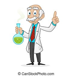 Ingenious professor holding tube - Illustration ingenious...