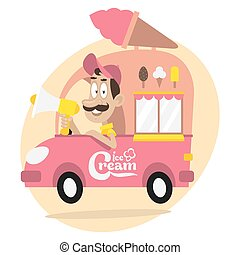 Ice cream truck and driver with loudspeaker