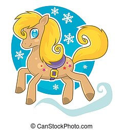 Christmas horse, running on four legs - Vector illustration...
