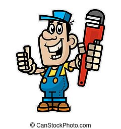 Cheerful plumber holding pipe wrench - Illustration cheerful...