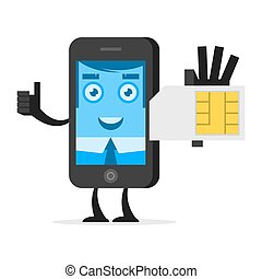 Character phone holds SIM card - Illustration character...