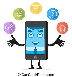 Character phone juggles with media icons - Illustration...