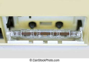 Retro audio cassette close up image