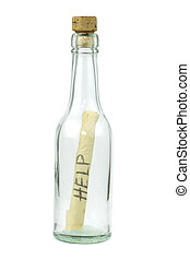 Message in a bottle on white background