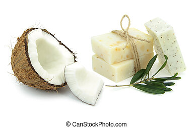 Natural herbal soaps with olive and coconut oil on white...