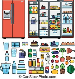 Refrigerator with products flat line vector