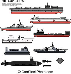 Military ships, warship and battleship on white - Military...