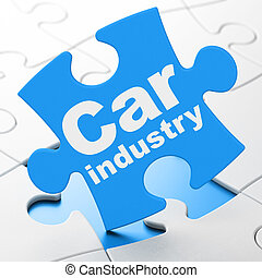 Manufacuring concept: Car Industry on puzzle background -...