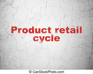 Advertising concept: Product retail Cycle on wall background...