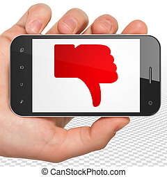 Social media concept: Hand Holding Smartphone with Thumb...
