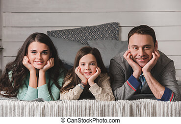 Happy family portrait - Family portrait of happy parents and...