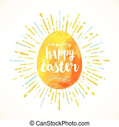 Watercolor Easter egg with type design - Vector greeting illustration.