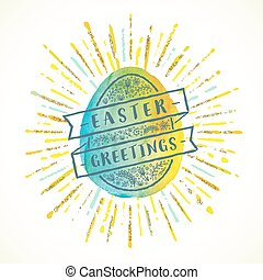 Watercolor Easter egg with type design - Vector greeting illustration
