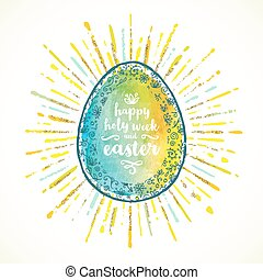 Easter egg with type design - Vector greeting illustration