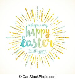 Easter greeting with sunburst - vector illustration.