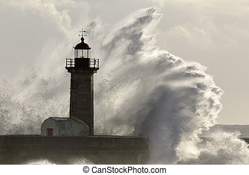 Big stormy sea wave over lighthouse - Big stormy sea wave...