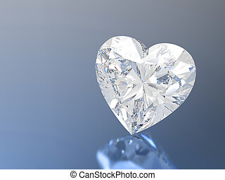 3D illustration diamond heart stone on a blue background