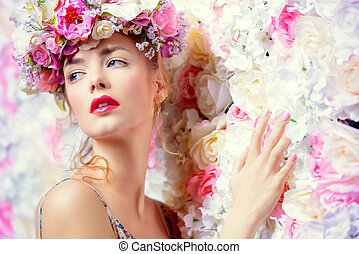 aroma perfume - Beautiful romantic young woman in a wreath...