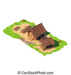 Isometric low poly sawmill, 3D rendering, illustration