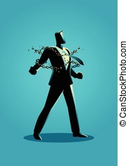 Illustration of a businessman breaking chains