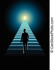 Stairway To Success - Business concept illustration of a man...