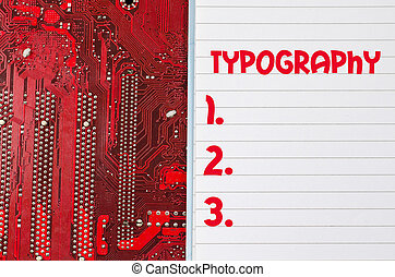 Typography text concept over computer background - Red old...
