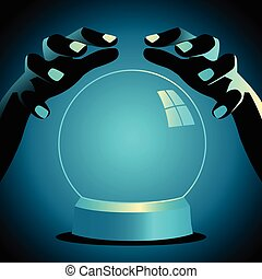 Fortune teller hands with crystal ball - Illustration of a...