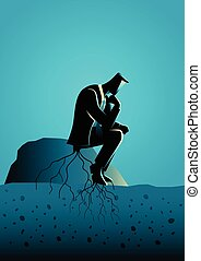 Too much thinking - Business concept illustration of a...