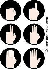 hands counting icons - design of hands counting icons
