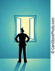 Businessman looking through window - Business concept...