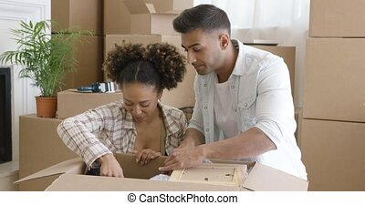 Attractive couple unpacking their things in new home