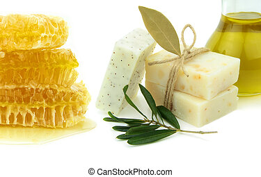 Natural herbal soaps with honey, olive oil and daphne on...