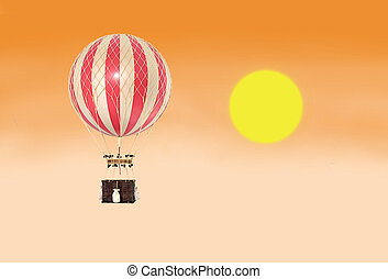 Old fashioned helium balloon in the sky with fantastic sunset.