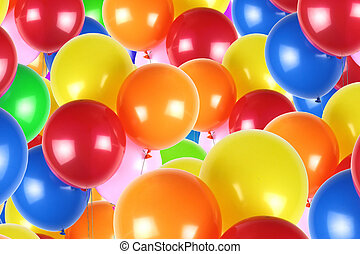 Colorful party balloons background close up image