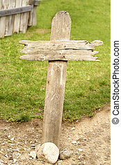 Old western wood grave cross