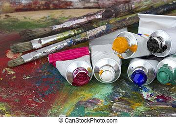 Pintura, paleta, cepillos, colores, artista