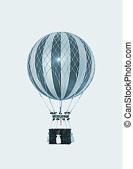 Old fashioned helium balloon on blue sky