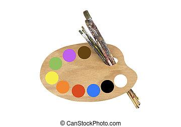 cepillos, Pintura, paleta, colores, artista