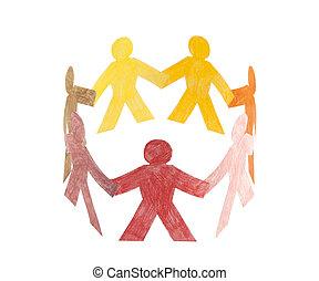 círculo, coloridos, pessoas