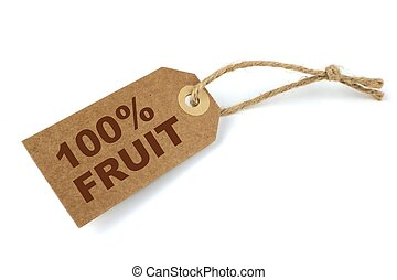 100% Fruit label with brown text close up image