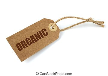 """Natural paper label and brown """" organic """" text ,on white..."""