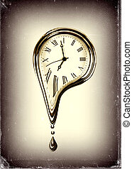 The time melting concept on white background