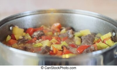 Beef stew with vegetables or goulash, traditional hungarian...