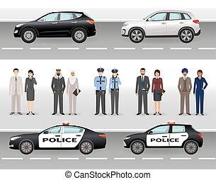 Set of two civil vehicles, two police cars, male and female policemen and civil people.